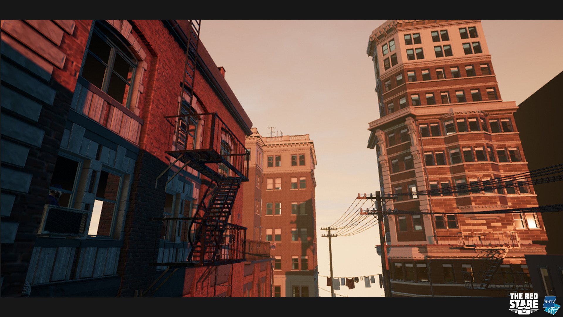 The building together with the rest of the scene, rendered ingame.