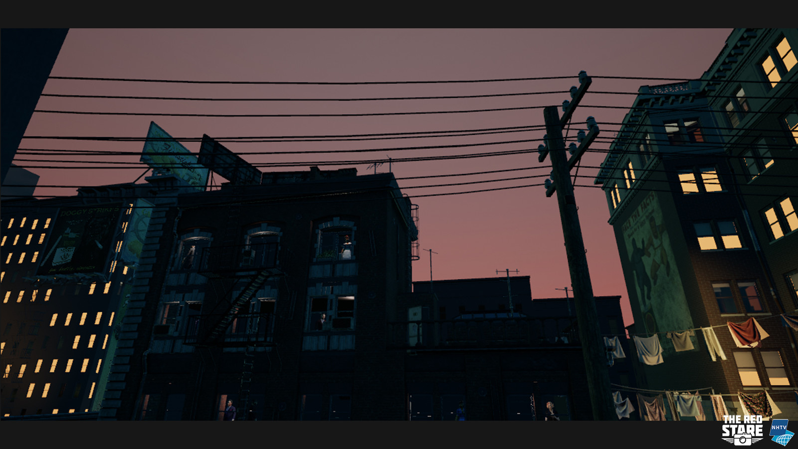The evening falls, and the building and telephone-pole in front of you give a really nice silhouette.