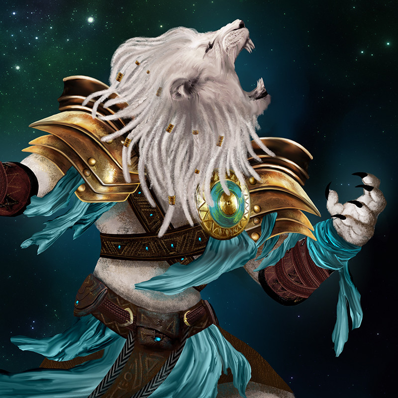 Closeup of Ajani Goldmane
