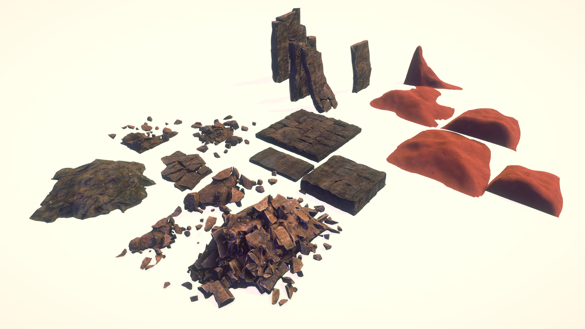 Rubble, stone chunks, sand.