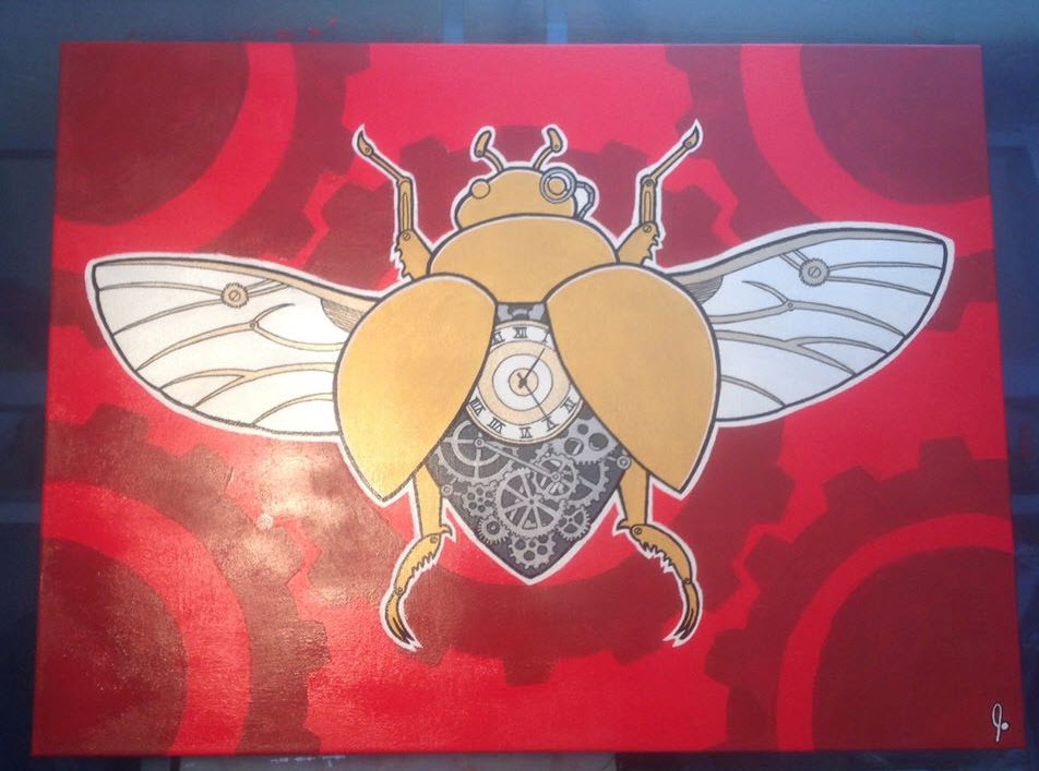 'Steampunk Beetle'  18 x 24 canvas  Status: For Sale