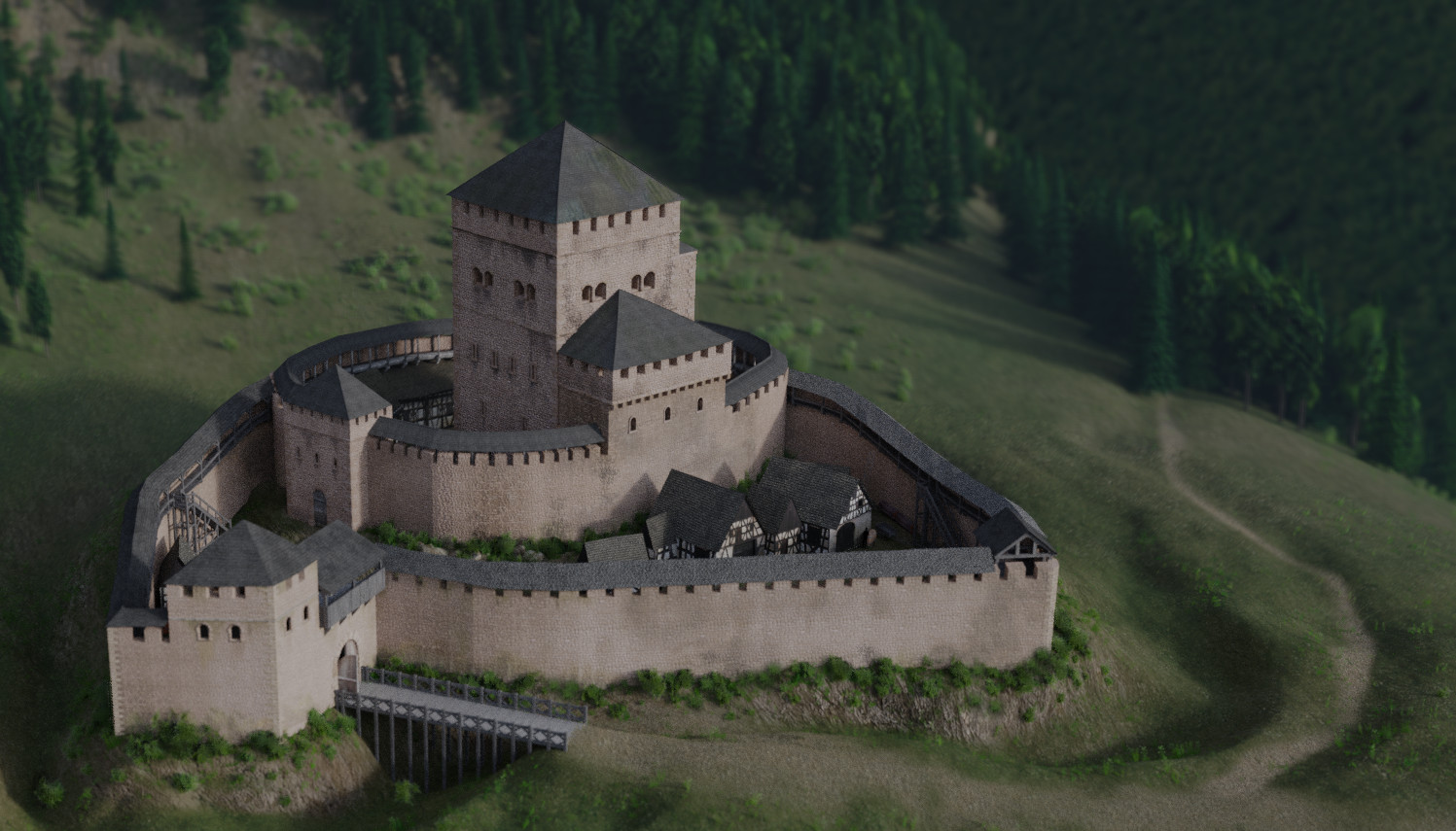 1507496914 ArtStation - Reconstruction of a 11th century Castle