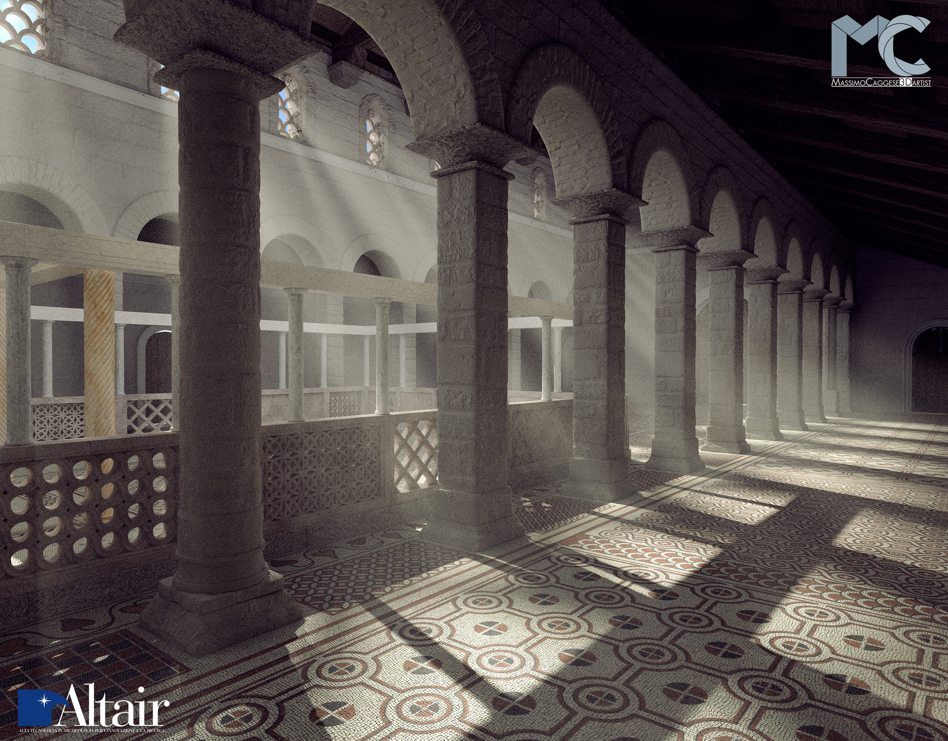 Interior rendering of the northern aisle (Blender Cycles).
