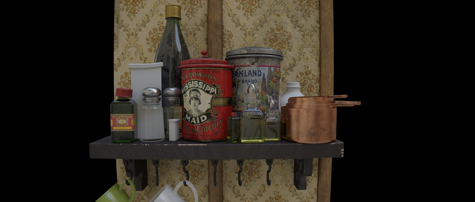 Shading Process - Procedural Glasses and Shelf Items