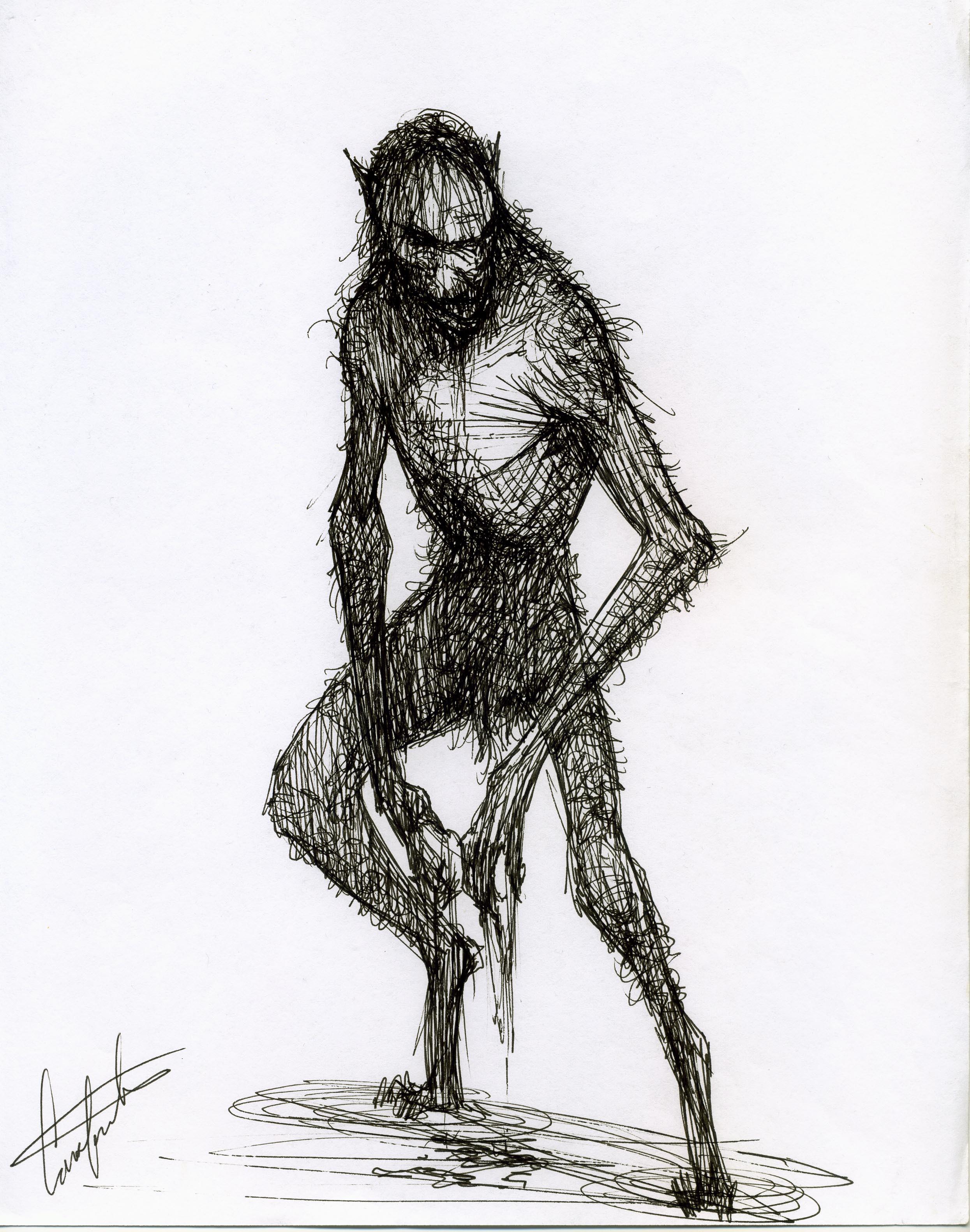 werewolf fantasy creature design sketch