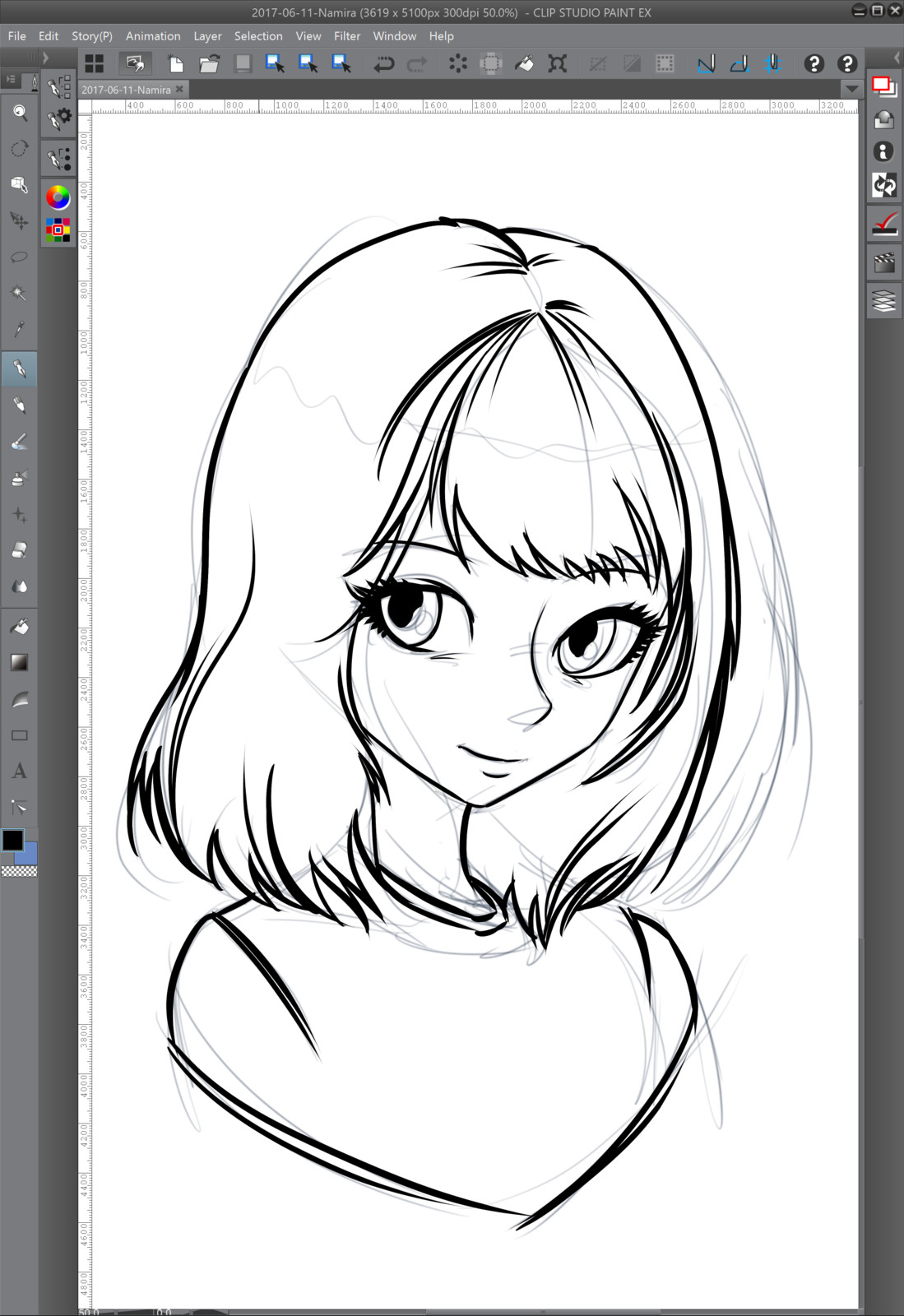 02 - Inking over the rough sketch