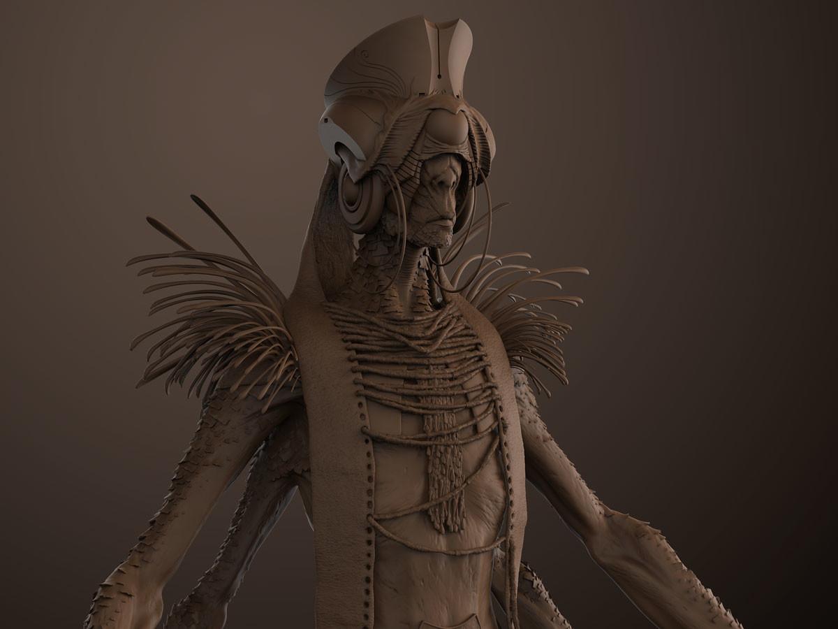 Shama clay render
