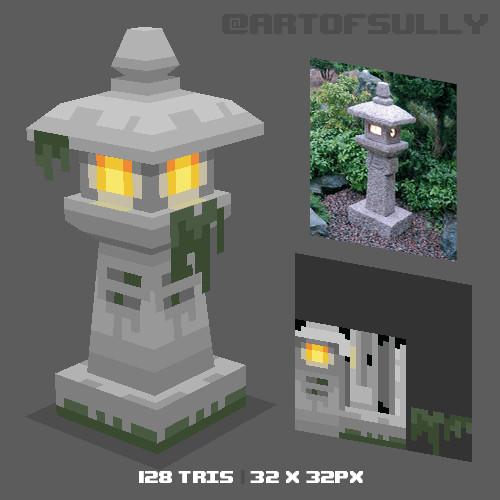 3D Pixel-Art Japanese Stone Lantern