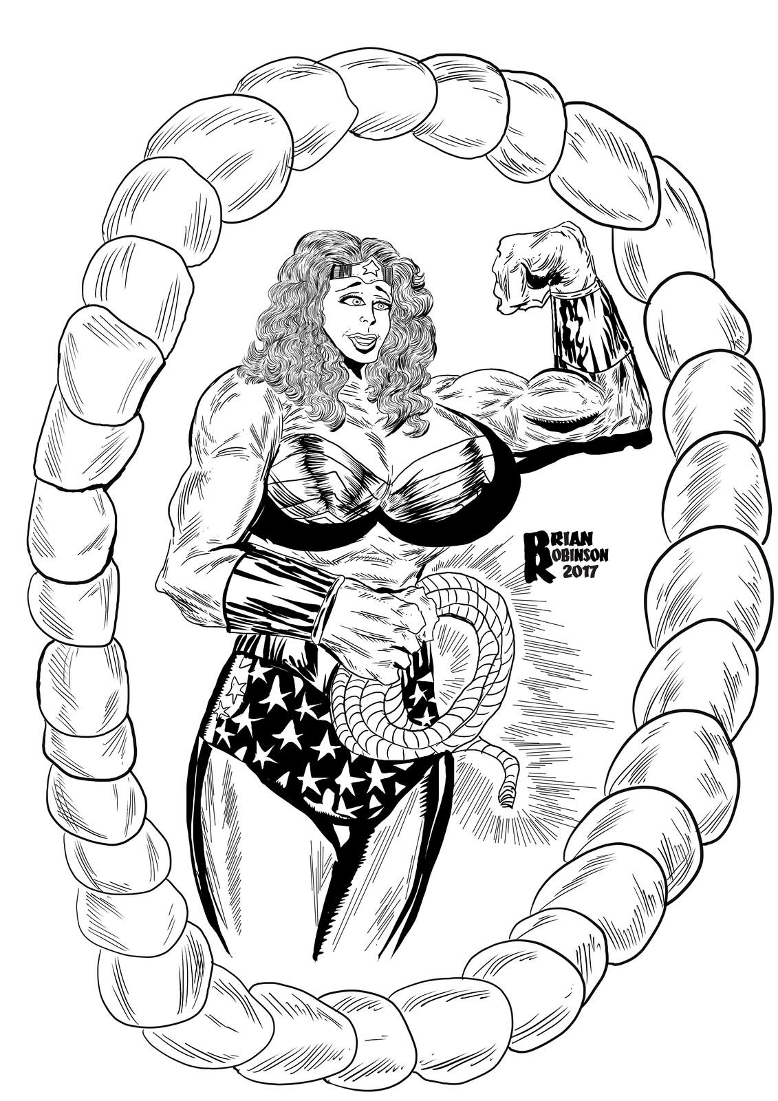 Wonder Woman drawing sketch by Brian Robinson
