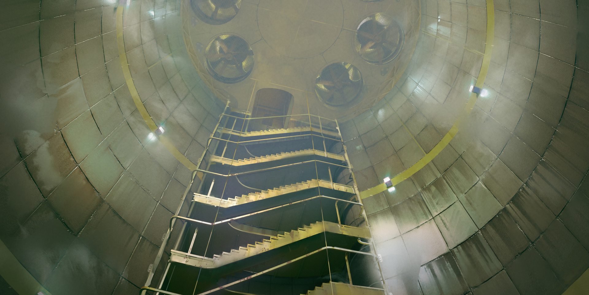 Descending the cooling tower