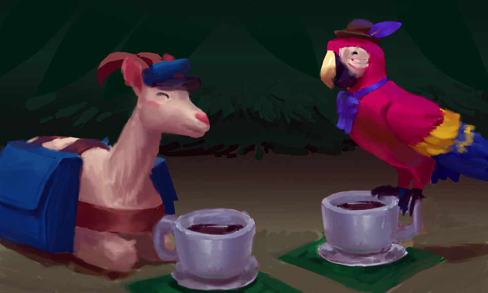 """A relaxing cup of coffee with Mr. Macaw. The terrible pun this idea came from is: """"Macawffee"""""""