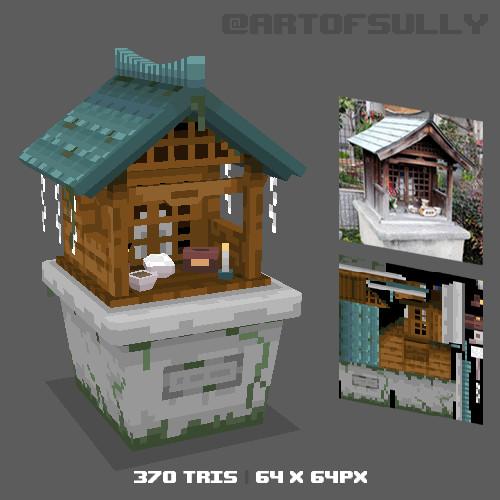 3D Pixel-Art Japanese Shrine