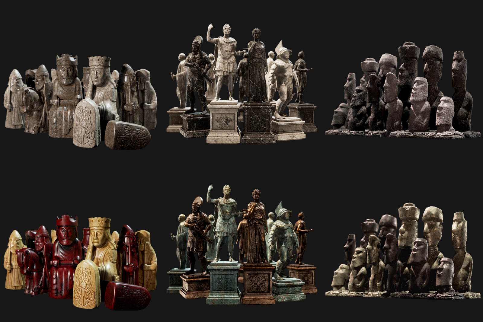 """Remastered Original DLC Chess Sets  """"Isle of Lewis"""" - """"Romans"""" - """"Easter""""  High-poly re-work - Texturing - Shader Creation - Optimisation"""