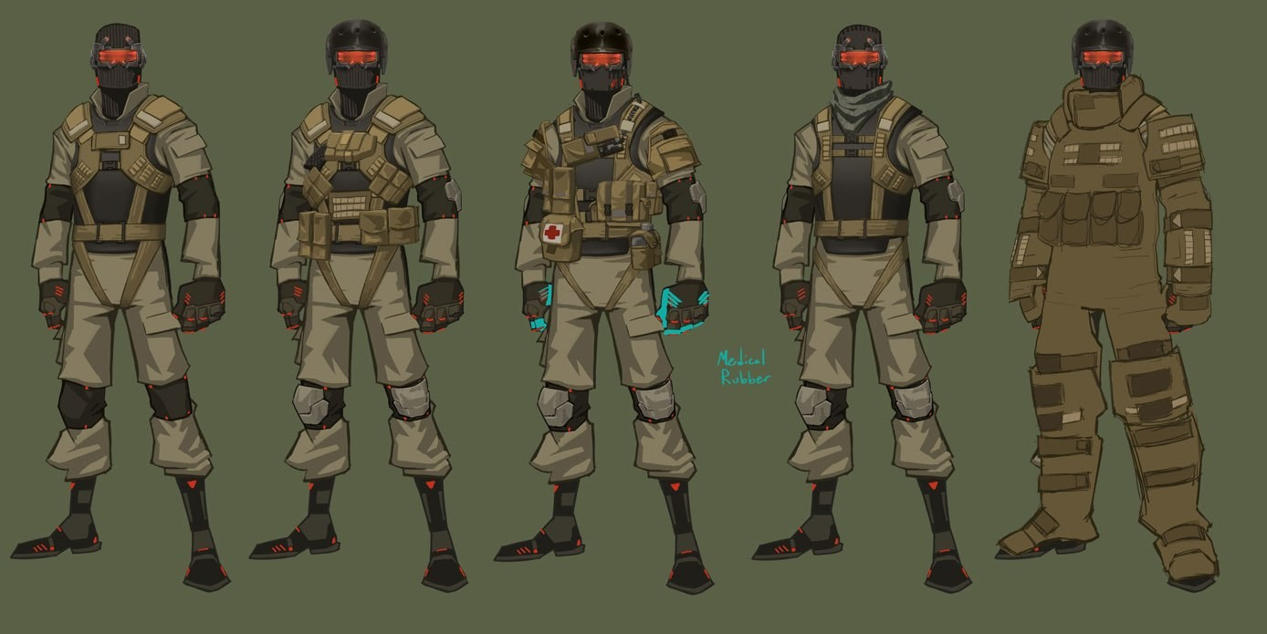 """Minions like """"Johnny"""" from MGS, but with interchangeable costumes to keep them different.  I like the medical gloves idea.  Very distincitive color, at least to me.  """"Metal gear"""" that guy, and take some meds to heal."""