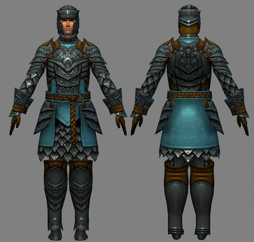 I modeled and textured the armorset based on a design by Hai Phan.  Base body is by Aaron Coberly.