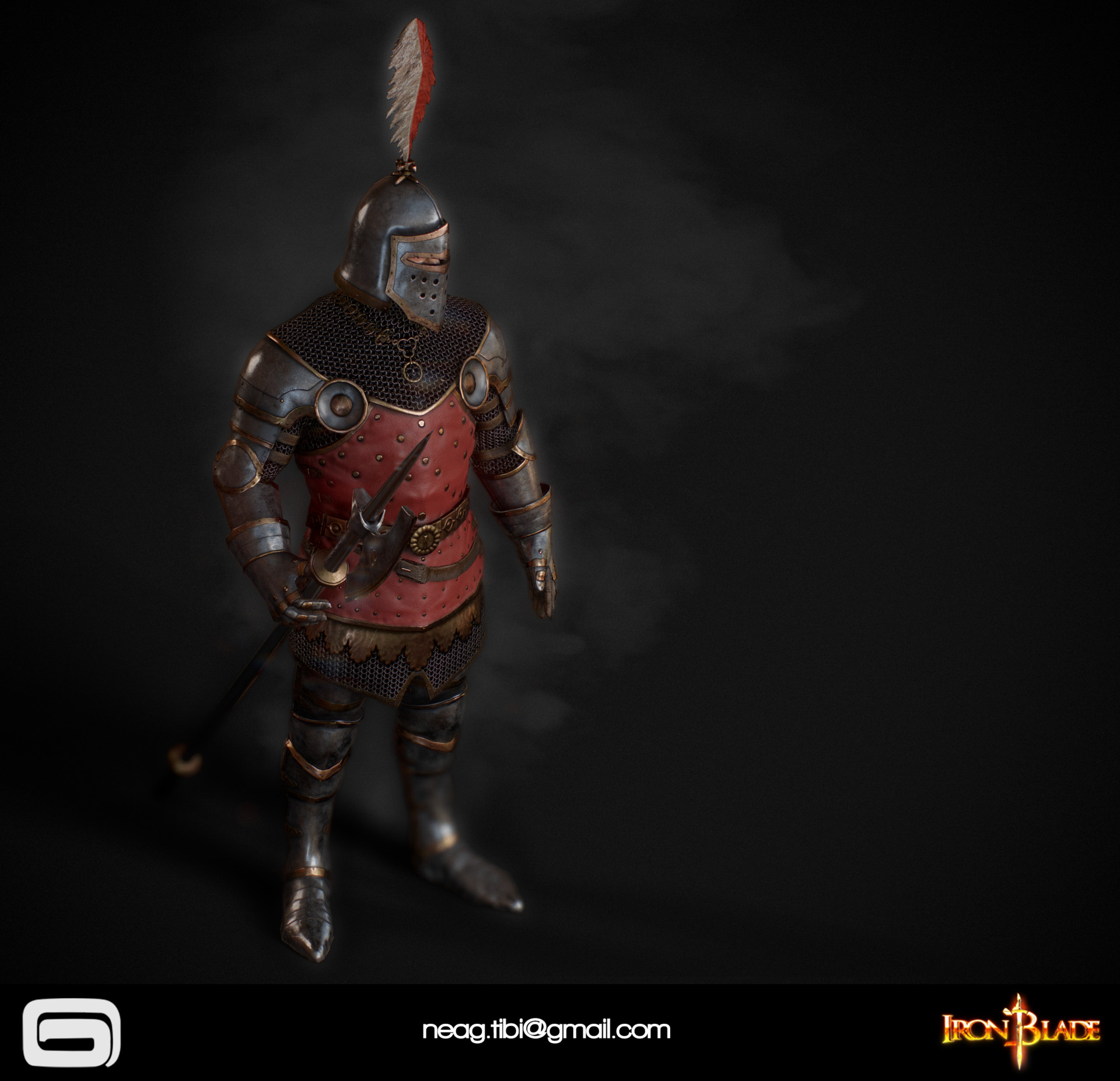 Tibi neag tibi neag iron blade royal guard low poly 05