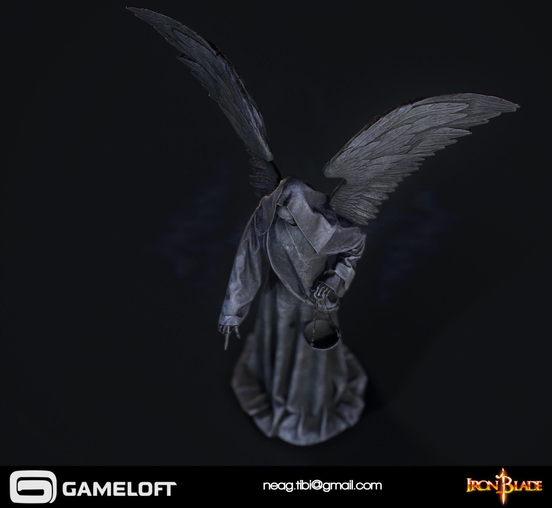 Tibi neag tibi neag iron blade death statue low poly 03