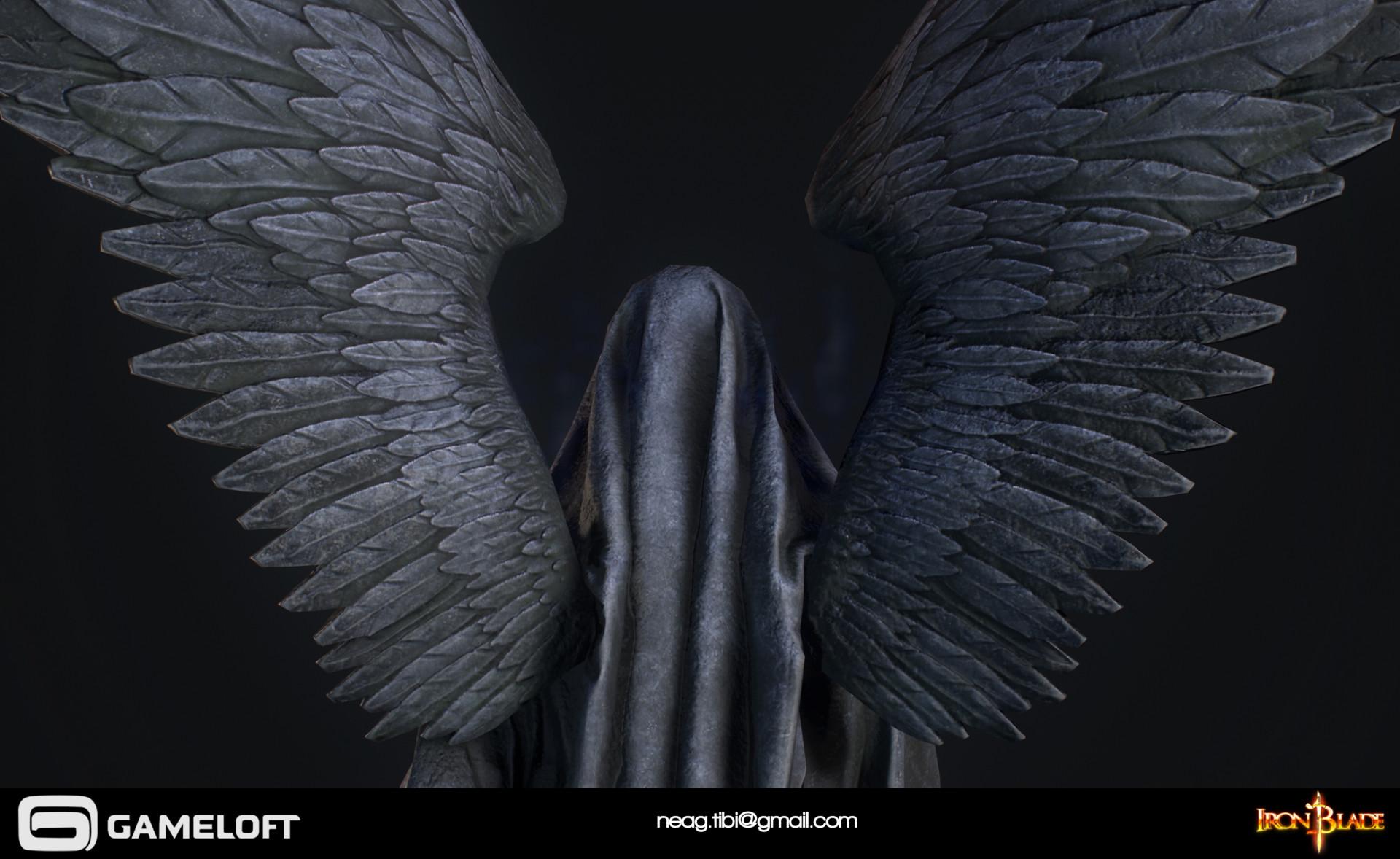 Tibi neag tibi neag iron blade death statue low poly 05