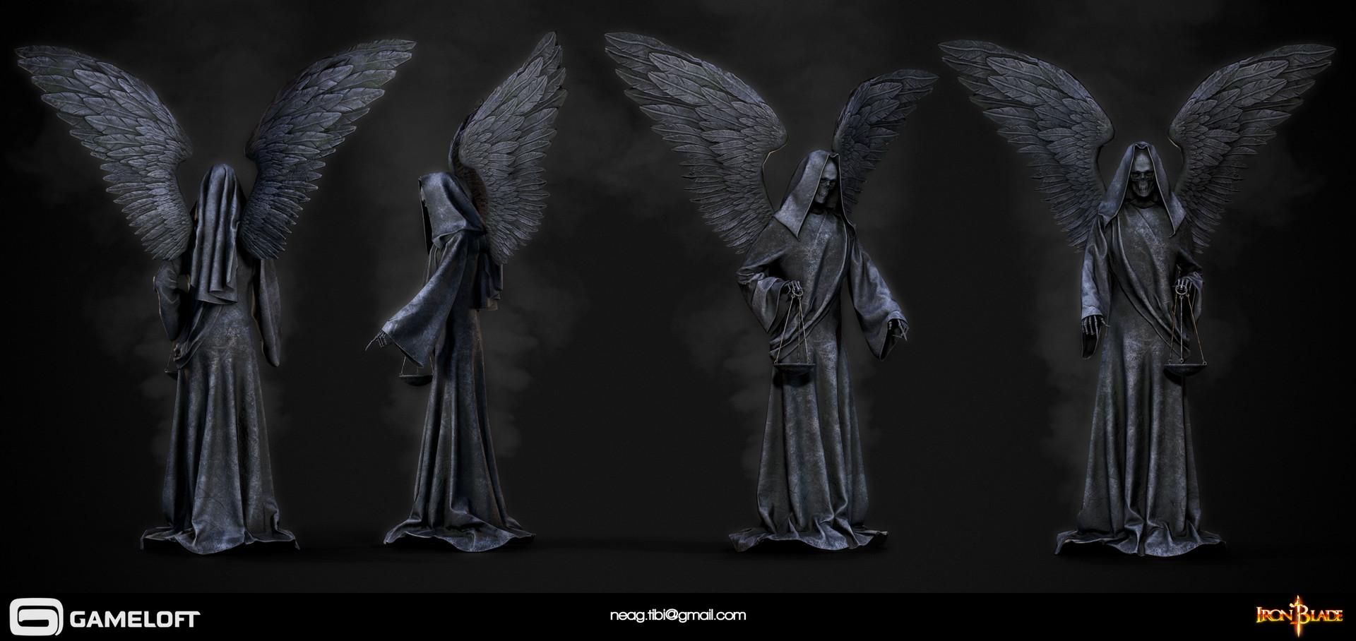 Tibi neag tibi neag iron blade death statue low poly resize