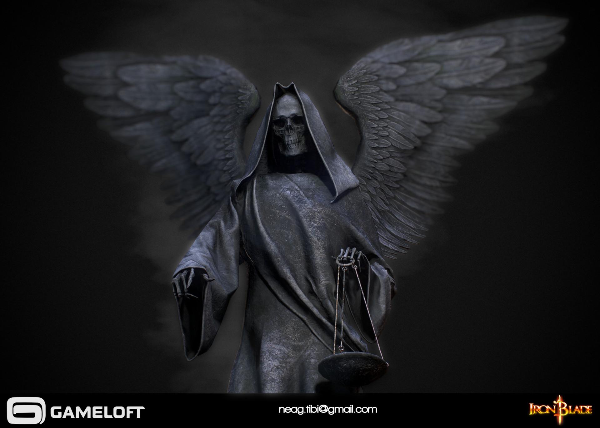 Tibi neag tibi neag iron blade death statue low poly 02 resize
