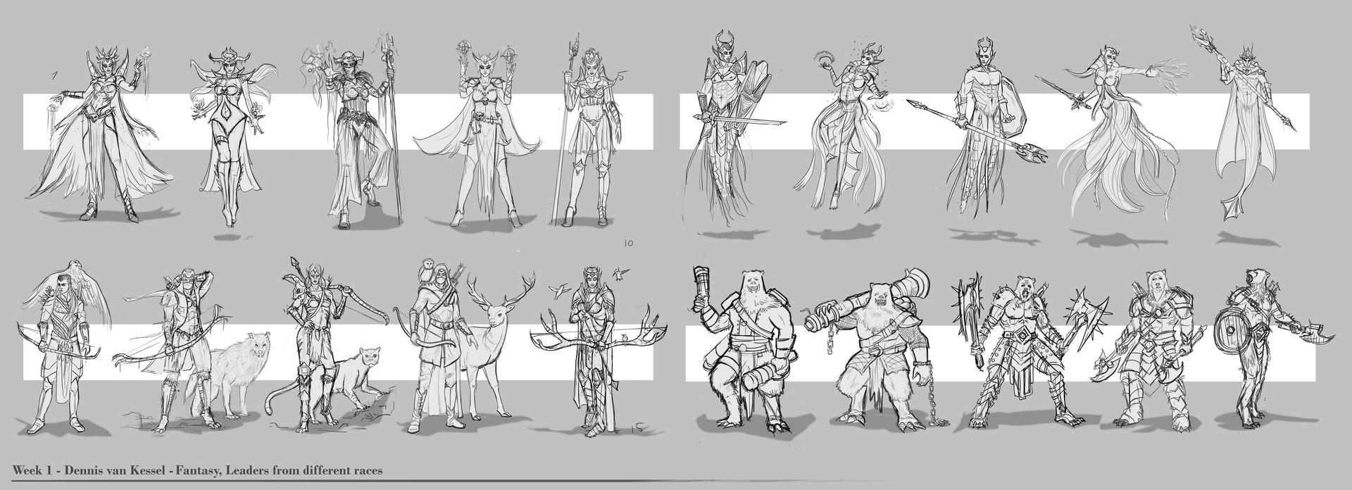 Dennis van kessel first 20 character designs 5k