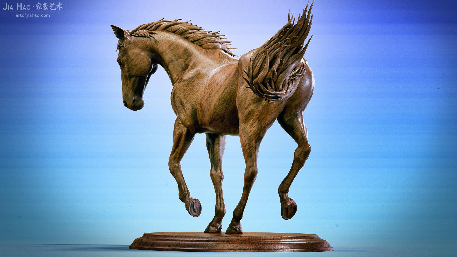 Jia hao horse sculpture comp wood 03