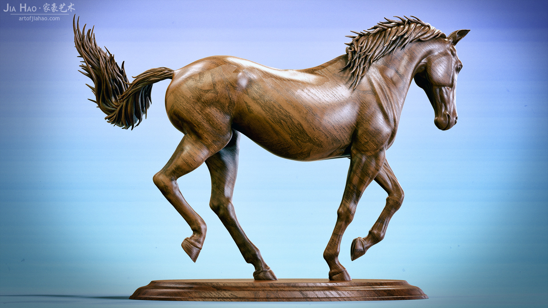 Jia hao horse sculpture comp wood 05