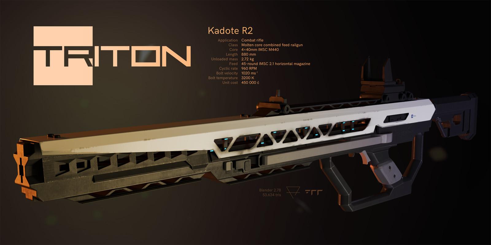 Triton Kadote R2 combat rifle, final render. February 2017