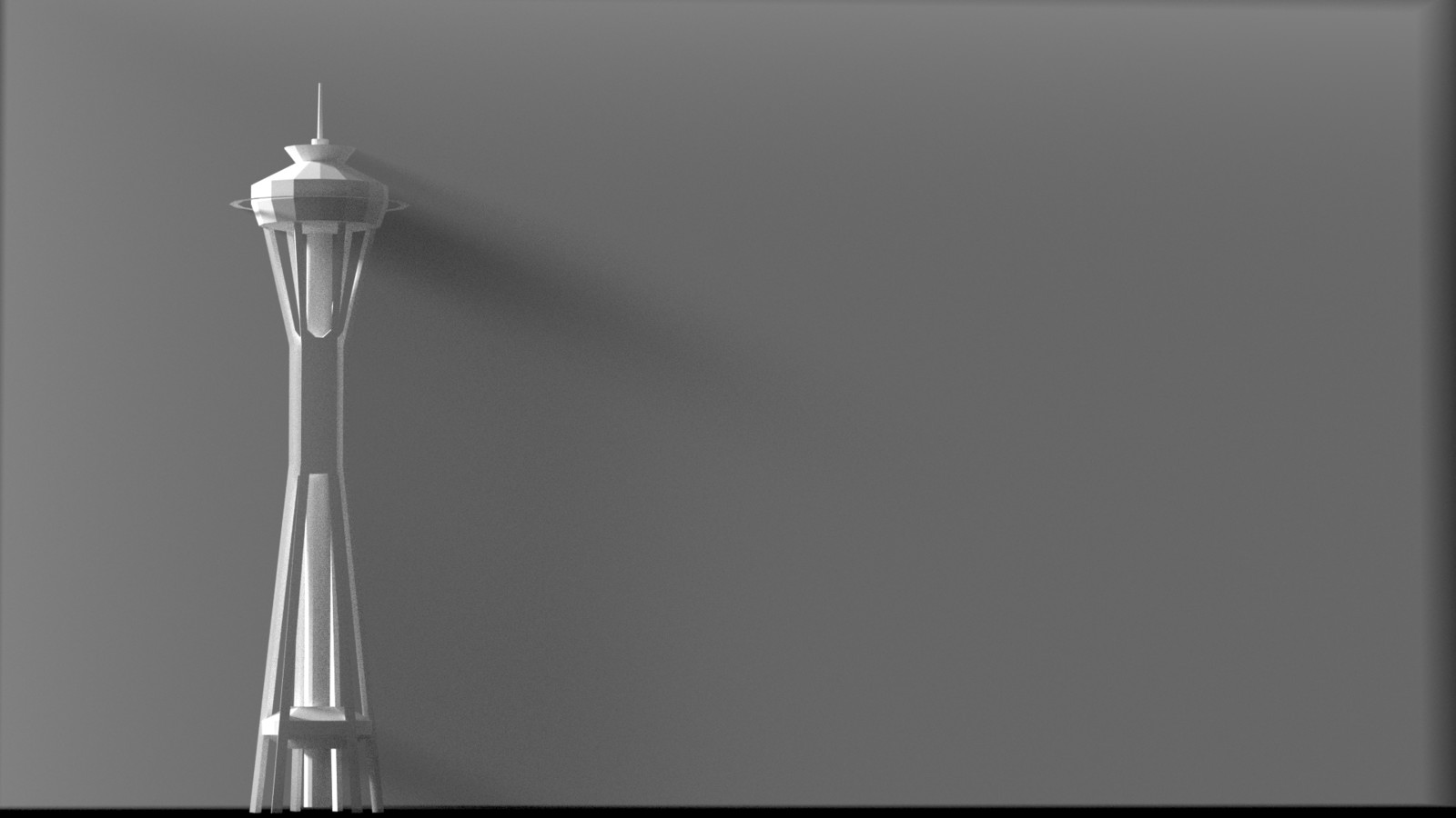 I really did want to capture a shadow bleeding off the edges of the Space Needle, so I took to Blender to render some volumetric lighting effect references.