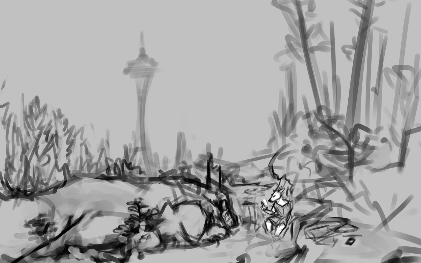 The original concept sketch made in December 2016. Traveler (the deer) was on her phone instead of playing the violin. The referenced location of the scene was along the Alaskan Way Viaduct, just before passing under 1st Avenue.
