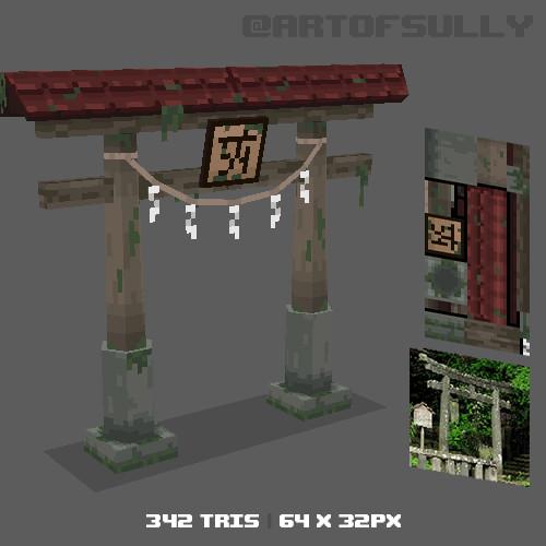 3D Pixel-Art Japanese Gate