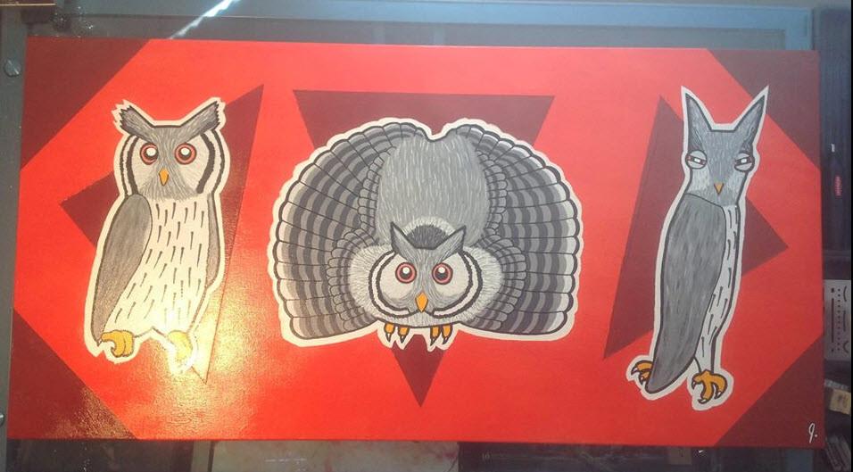 `Transformer Owl` 18 x 36 canvas Status: For Sale