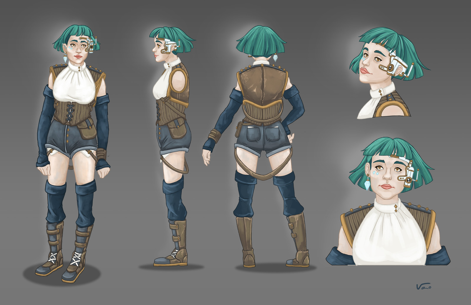 -Christina- 360 character sheet with close up looks.