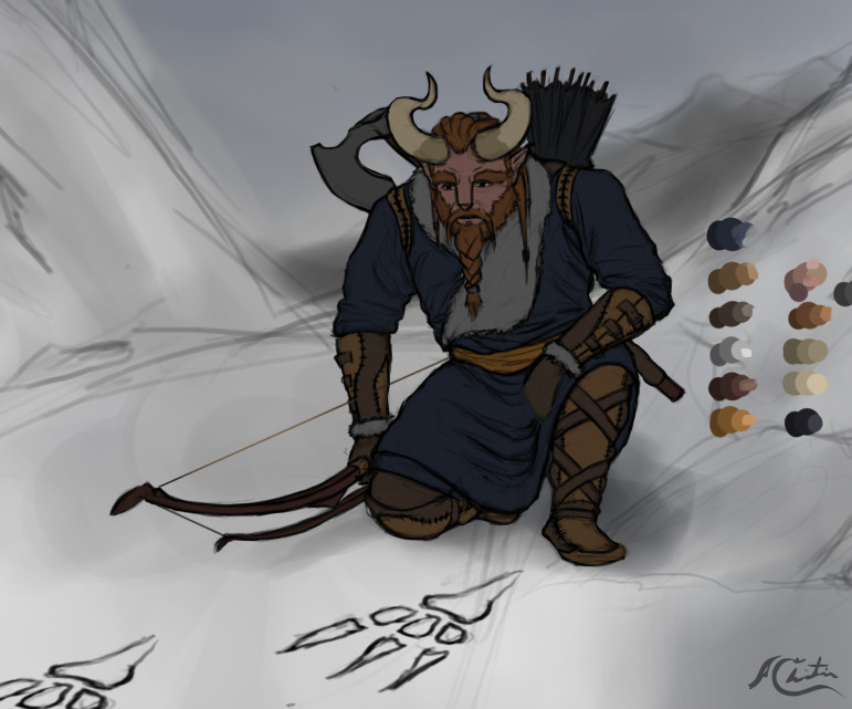 Christian hadfield fantasy art horned archer character by christian hadfield wip1