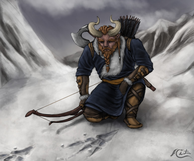 Christian hadfield fantasy art horned archer character by christian hadfield wip3