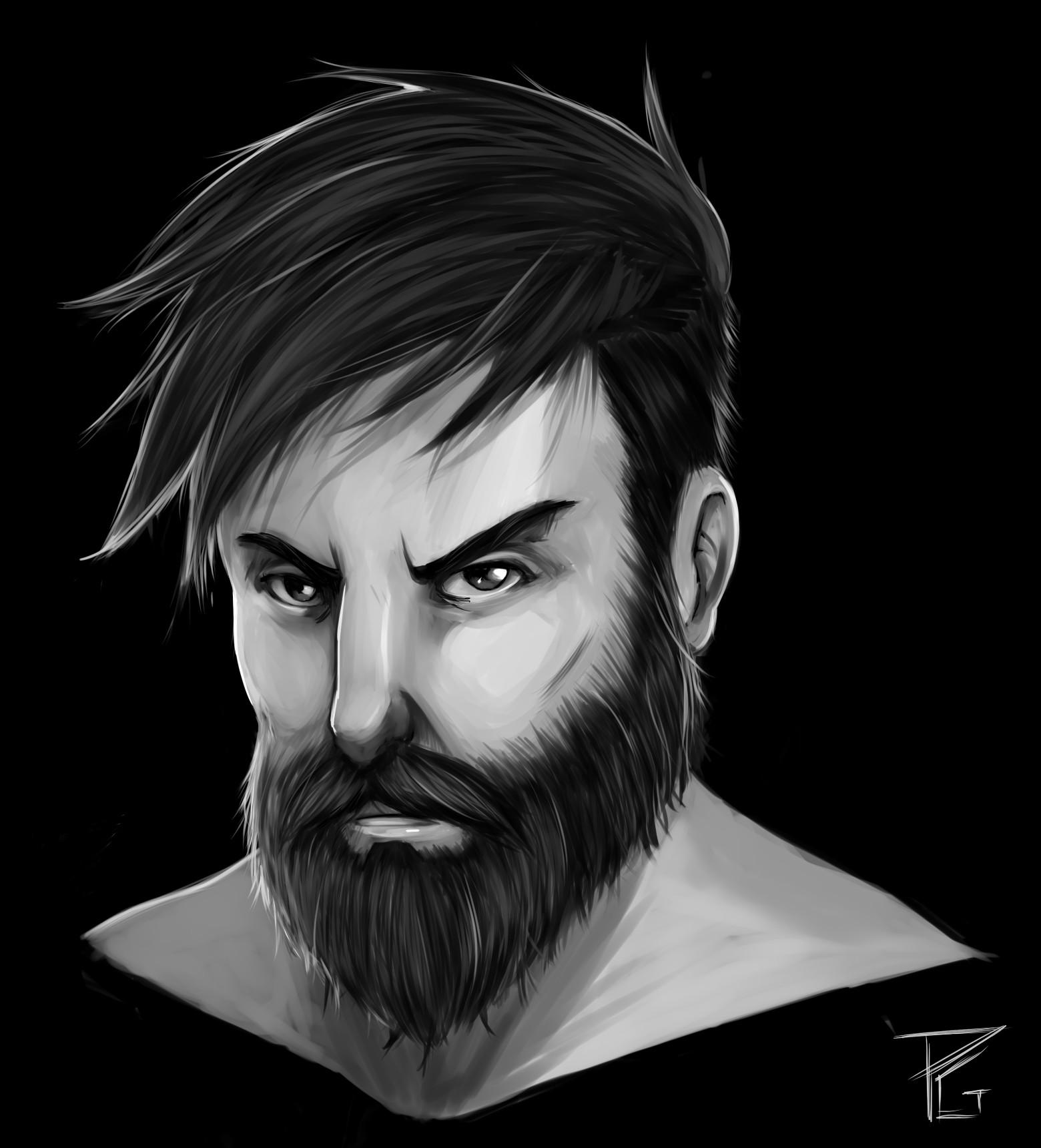 paulo gazola digital painting training beard guy
