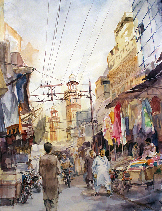Wazir Khan bazar - watercolor (50x64cm)