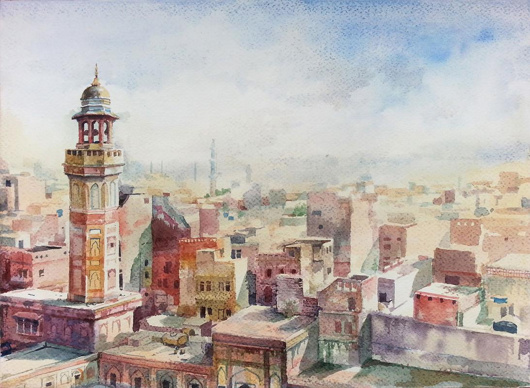 Wazir Khan Mosque  - watercolor (21x29.7cm)