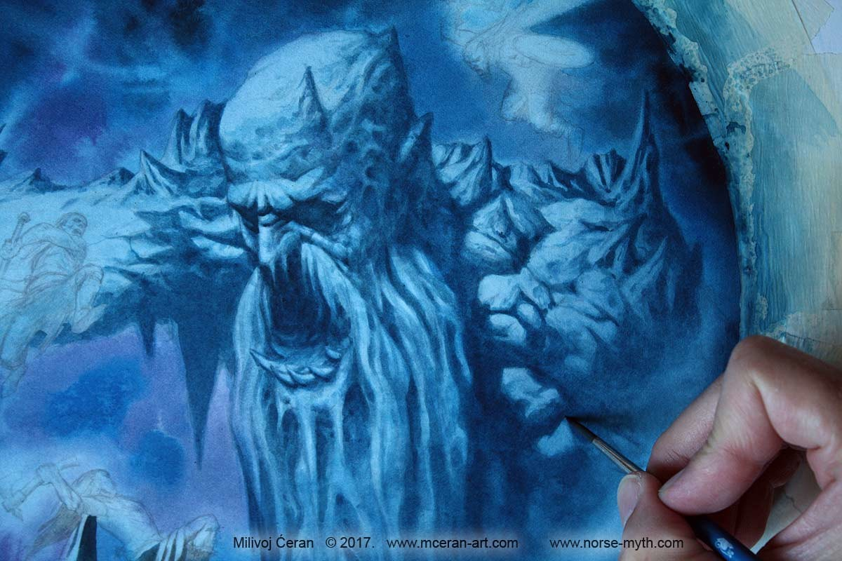 """Odin, Vili and Ve kill Ymir"",  © Milivoj Ćeran 2017.