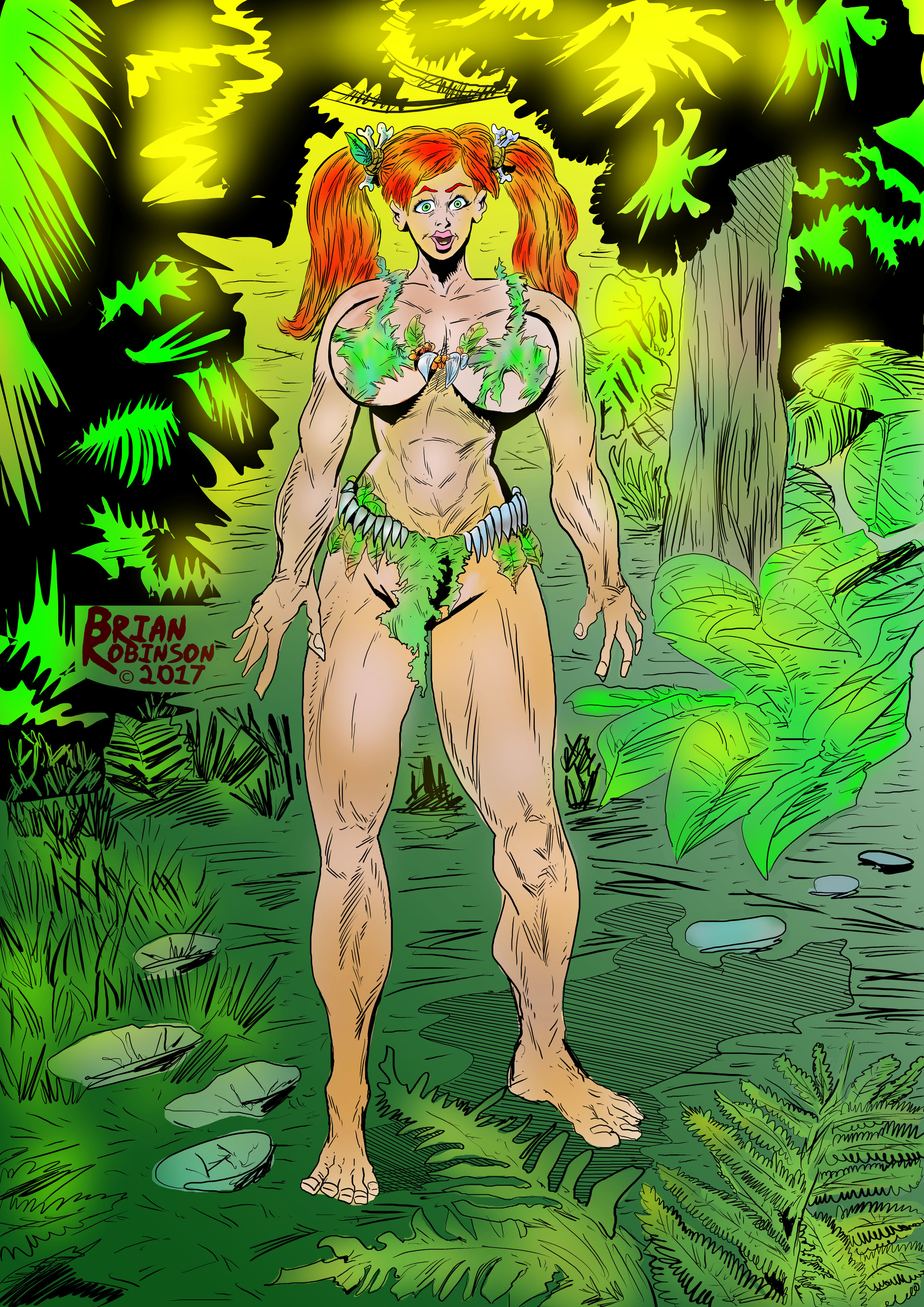 Pigtailed Jungle woman Colored pinup drawing by Brian Robinson