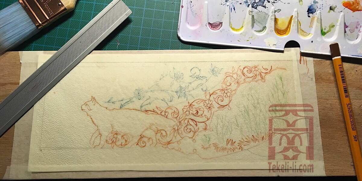 1-basic drawing on vellum, none of these lines will appear on the final painting.