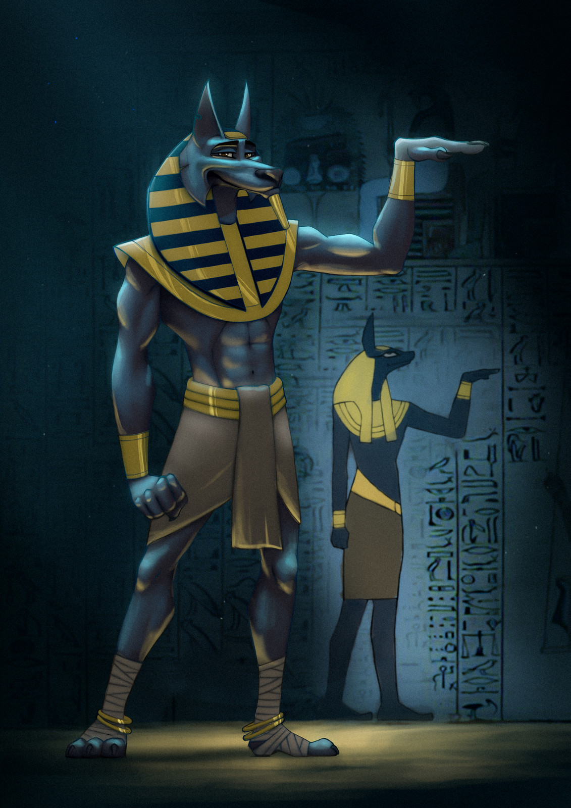 Anubis....when you have to pose the same weird way to prove its you in picture!... P.S: Mummies don't like the ORANGE!