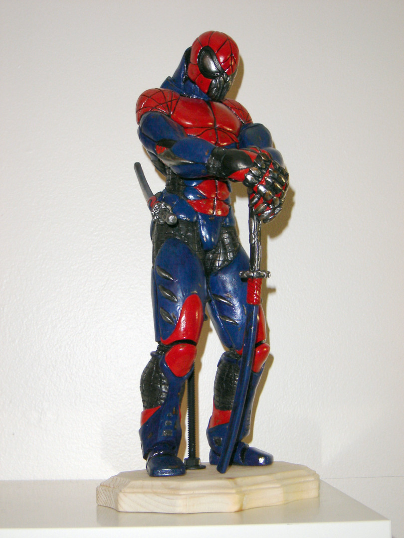 Samurai Spiderman sculpture