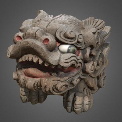 Vlx kuzmin wooden shisa okinawan guardian lion