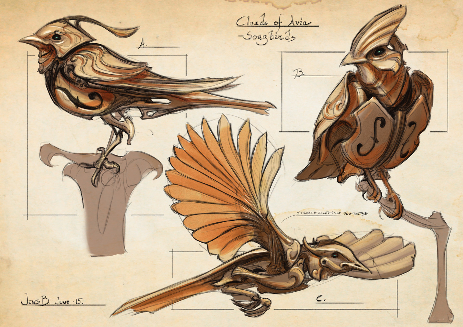 Animated mechanical Songbirds flutter move freely in the tower.