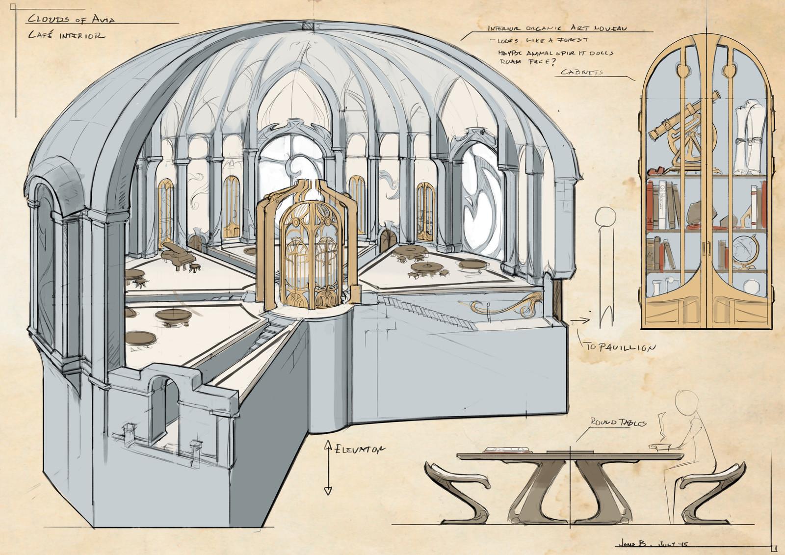 Exploration and development of the Café interior.