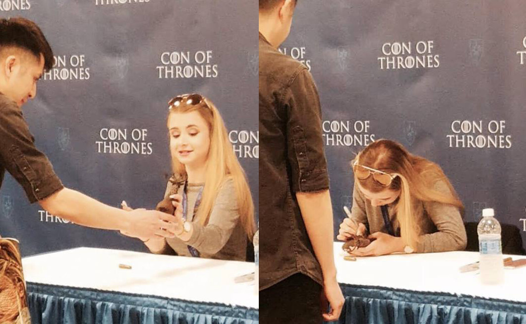 The piece was then signed by Kerry Ingram at Con of Thrones