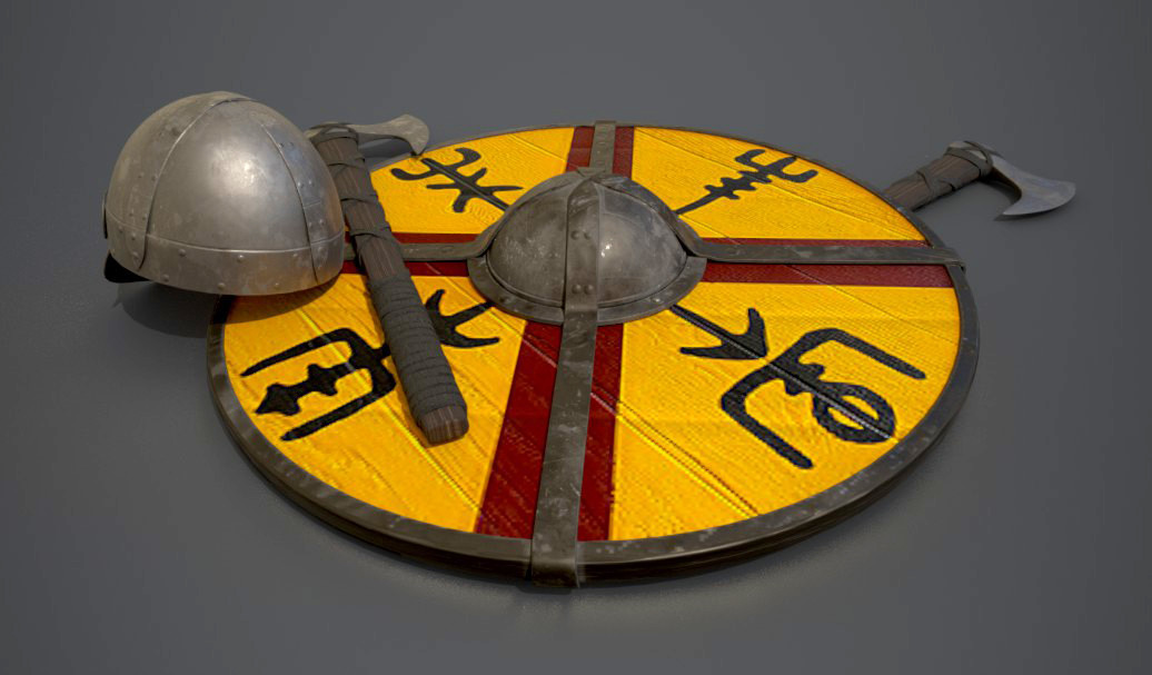 Viking Axe, Helmet, and Shield