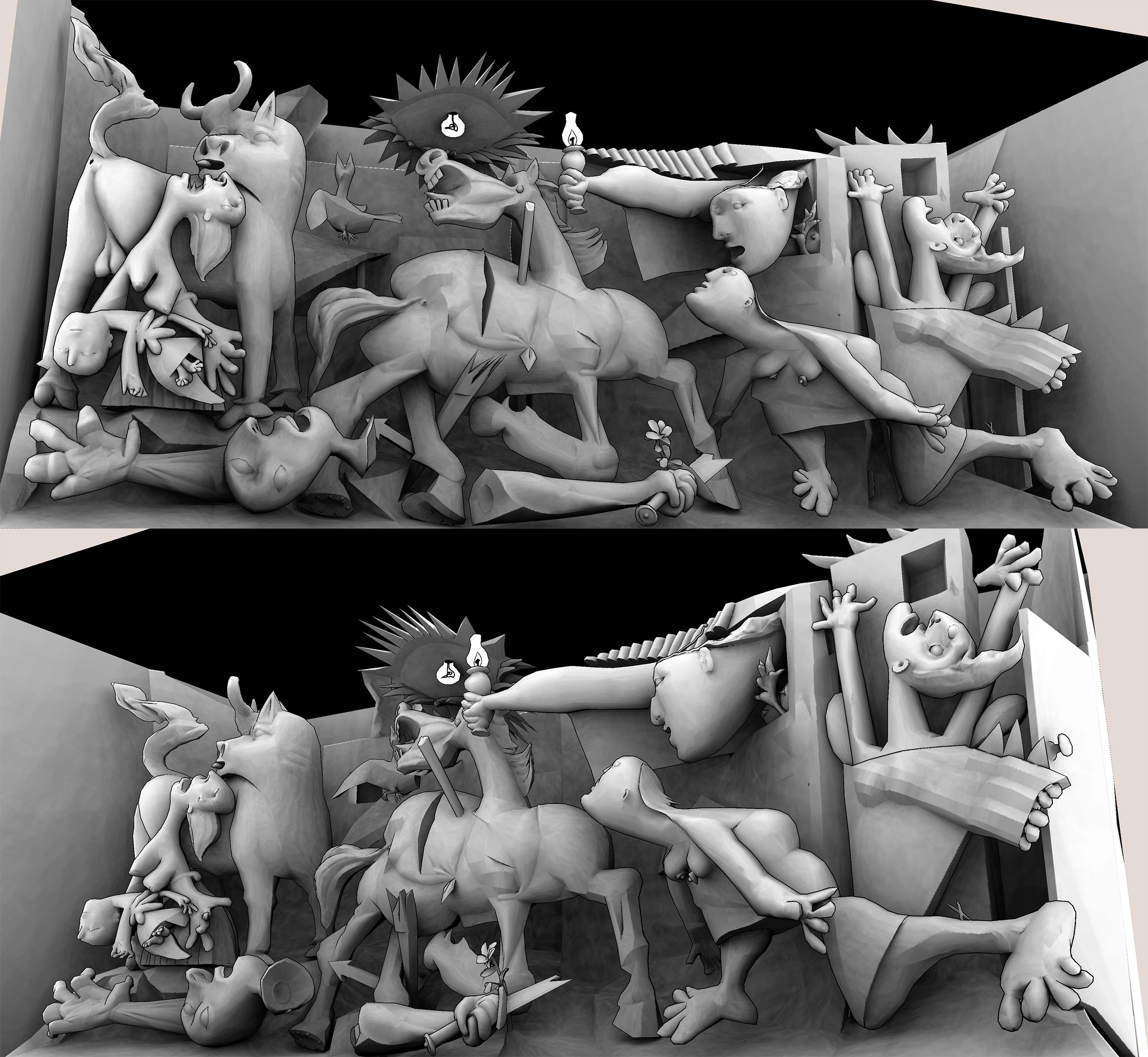 WIP Guernica 3D with baked Ambient Occlusion.