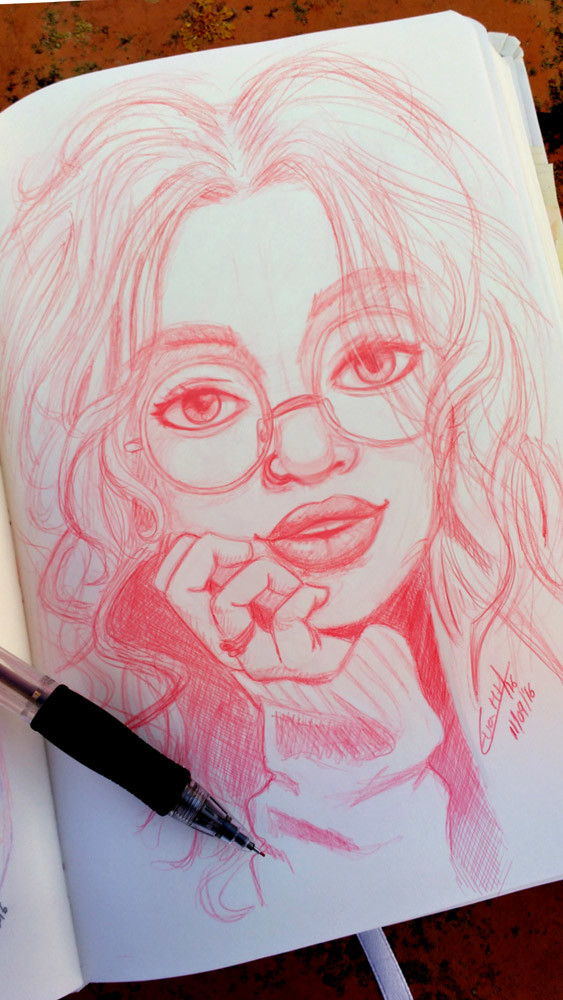 Girl with glasses sketch